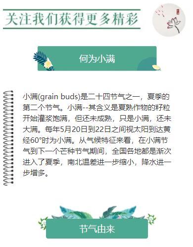 微信公众号小满二十四节气之一中国传统节日微信推文素材模板