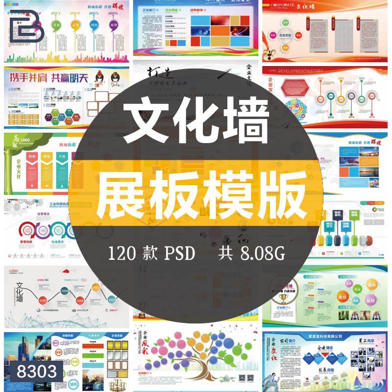 公司企业文化墙宣传栏学校展板PSD模版
